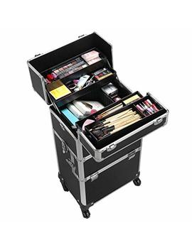 Yaheetech 4 360 Degreed Wheels 3 In 1 Professional Aluminum Artist Rolling Trolley Makeup Train Case Cosmetic Organizer Makeup Case For Beauty Chains... by Yaheetech