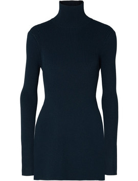 Open Back Ribbed Knit Turtleneck Top by Peter Do