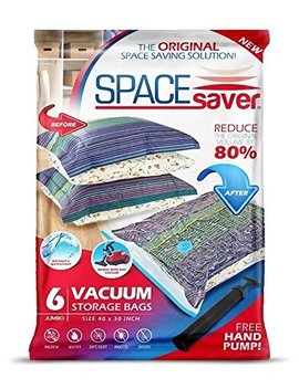 Space Saver Premium Reusable Vacuum Storage Bags (Jumbo 6 Pack), Save 80 Percents More Storage Space. Double Zip Seal & Leak Valve, Travel Hand Pump Included. by Spacesaver