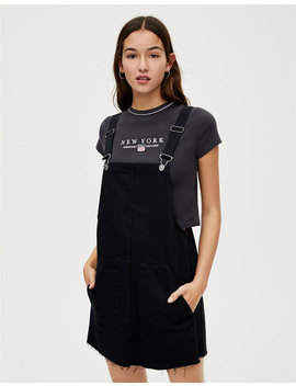 T Shirt Cropped De Manga Curta Com Bordado by Pull & Bear