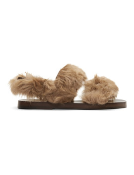 Brown New Brighton Lamb Wool Sandals by Gucci
