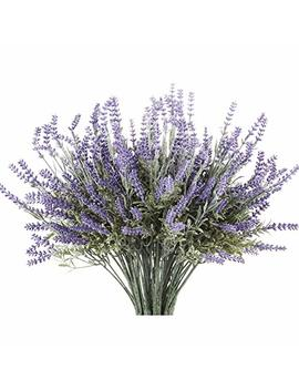 Butterfly Craze 8 Bundle Artificial Flower Purple Lavender Bouquet With Green Leaves For Home Party Decorations by Butterfly Craze