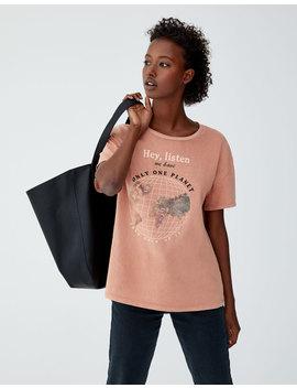Dünya Grafik Baskılı T Shirt by Pull & Bear