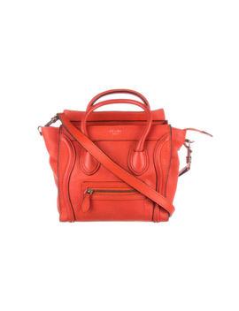 Celine Red Orange Drummed Calfskin Nano Luggage Bag by Celine