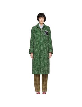 Green Ny Yankees Edition Tweed Coat by Gucci