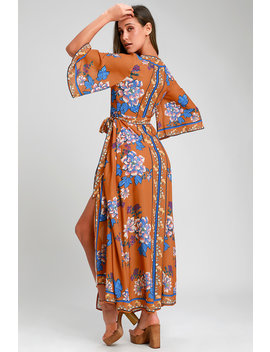 Breezeway Rust Orange Floral Print Maxi Wrap Dress by Lulu's