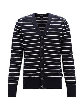Regular Fit Striped Cardigan In Knitted Cotton by Boss