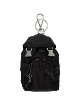 Black Mini Backpack Keychain by Prada