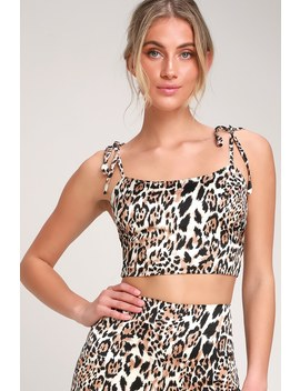 Wildest Dreams Brown Leopard Print Tie Strap Crop Top by Lulus
