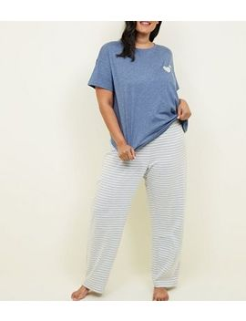 Curves Pale Blue Stripe Joggers Pyjama Set by New Look