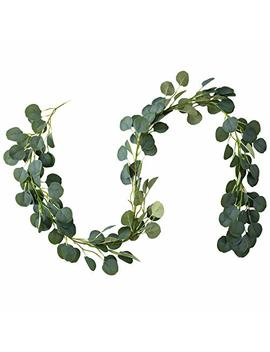 Belle Fleur Faux Eucalyptus Garland 6 Ft, 148 Pcs Leaves Christmas Greenery Garland For Wedding Backdrop Table Runner Decor by Belle Fleur