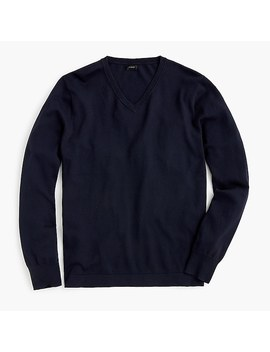 Cotton Solid V Neck Sweater by J.Crew