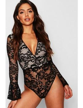 Premium Lace Flared Bodysuit by Boohoo