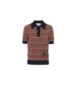 Jacquard Wool Polo Shirt by Prada