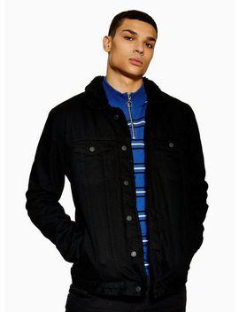 Antioch Black Borg Denim Jacket* by Topman