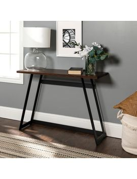 Rustic Metal Wrap Dark Walnut Console Table by Pier1 Imports
