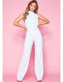 Ivy White High Neck Tie Jumpsuit by Missy Empire