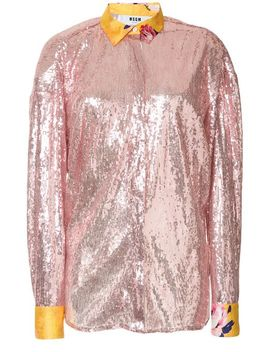 Contrast Cuff Embellished Blouse by Msgm