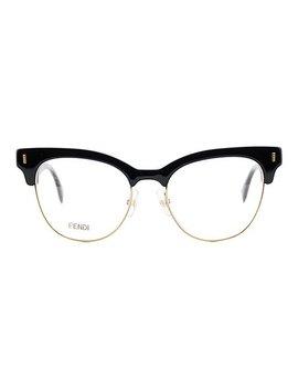 Black Half Rim Eyeglasses by Fendi