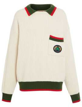 Olivine Contrasting Collar Knitted Jumper by Burberry