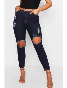 Plus Open Knee 5 Pocket Skinny Jean by Boohoo