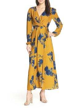 Floral Print Faux Wrap Maxi Dress by Chelsea28