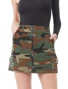 Zip Front Camo Cargo Skirt by Forever 21
