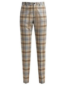 High Waisted Checked Wool Blend Trousers by Connolly