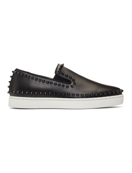 Black & White Pik Boat Sneakers by Christian Louboutin