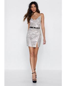 Cowl Do You Know Glitter Dress by Nasty Gal