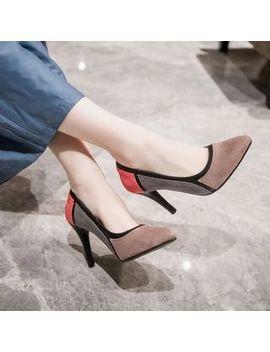 Jy Shoes   Color Block Faux Suede Pumps by Jy Shoes