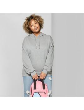 Women's Plus Size Oversized Fleece Hoodie   Wild Fable™ Heather Gray by Wild Fable