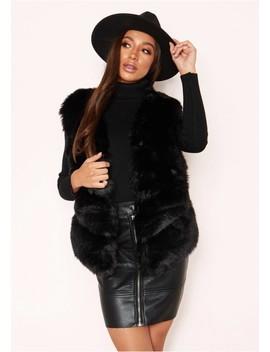 Penelope Black Panel Faux Fur Gilet by Missy Empire