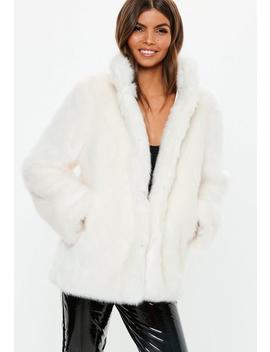 White Stand Collar Faux Fur Coat by Missguided