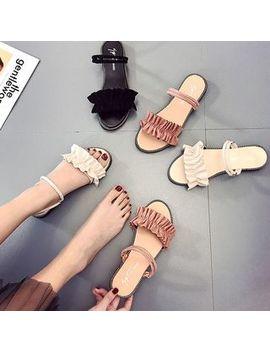 Weiya   Frill Trim Slide Sandals by Weiya