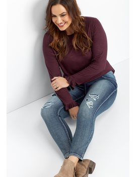 Plus Size Denim Flex™ Super Soft Medium Wash Destructed Jegging by Maurices