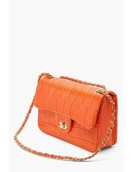 All Over Croc & Lock Cross Body by Boohoo