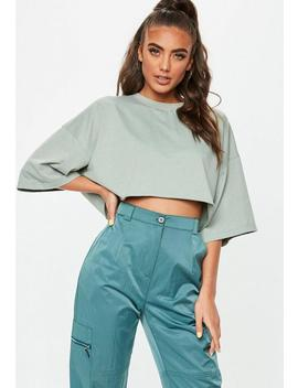 Khaki Cropped Oversized T Shirt by Missguided