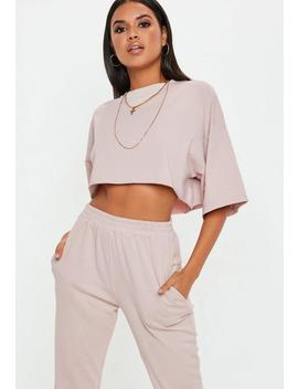 Cream Oversized Crop T Shirt by Missguided