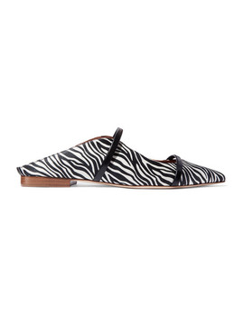 Maureen Leather Trimmed Zebra Print Satin Point Toe Flats by Malone Souliers