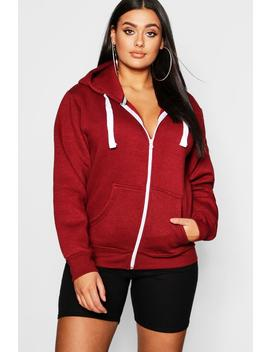 Plus Zip Through Hooded Sweat by Boohoo