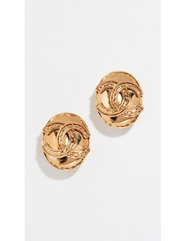 Chanel Cc Oval Earrings by What Goes Around Comes Around