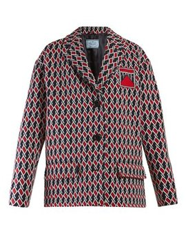 Oversized Houndstooth Jacquard Jacket by Prada