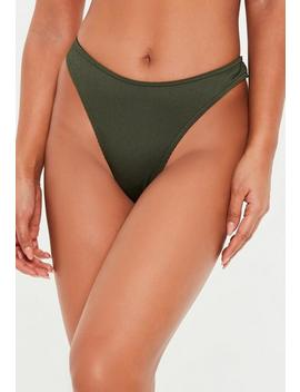 Khaki Mix And Match Ribbed Bikini Thong by Missguided