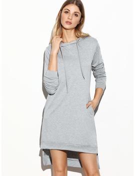 Grey Hooded Slit Side High Low Sweatshirt Dress by Romwe