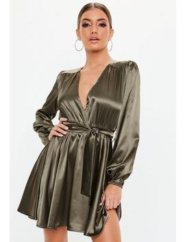 Khaki Belted Satin Skater Dress by Missguided