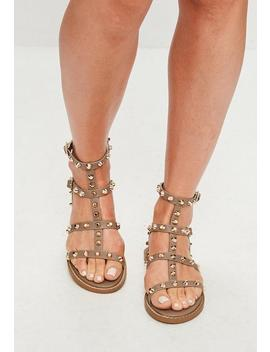 Brown Studded Gladiator Sandals by Missguided