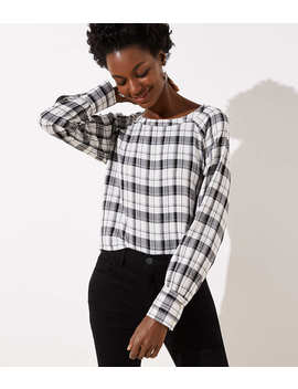 Plaid Raglan Blouse by Loft
