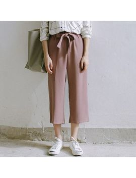 Racoon   Tie Waist Cropped Pants by Racoon