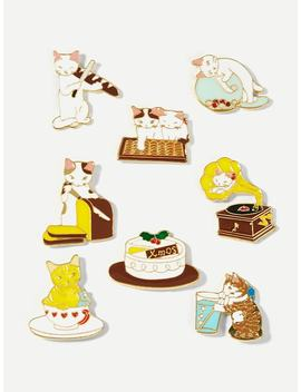 Cat Design Brooch Set 8pcs by Sheinside